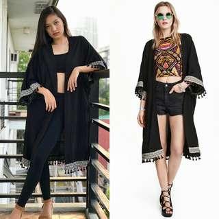 H&M Coachella Collection Black Boho/Tassel Cardigan