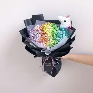 Graduation Flower | Rainbow baby breath bouquet | Fresh flower bouquet | birthday flower | Anniversary Gift | Flower | Flower delivery | 彩虹 满天星 花束 |生日花束 |鲜花运送