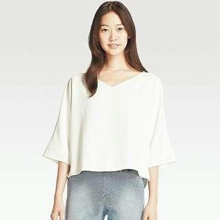 Uniqlo Drape 3/4 sleeve Cool White Blouse