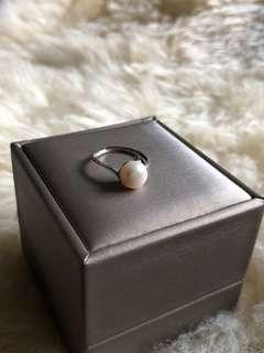 S925 Sterling Silver Freshwater Pearl Ring 8mm