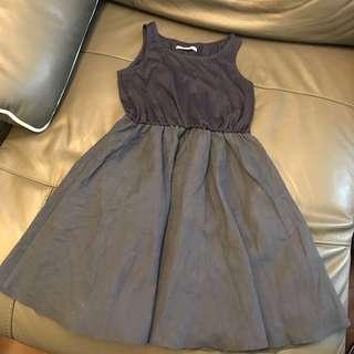 日牌 深藍背心橡筋腰連身裙