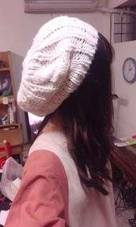 🚚 米白色針織貝蕾帽