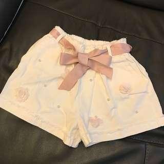 韓國立體花珍珠白色短褲 連腰帶 Korea white shorts
