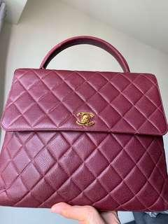 Chanel Caviar Quilted Jumbo Kelly Flap Bag Burgundy