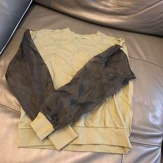型格軍綠色拼透膚袖top