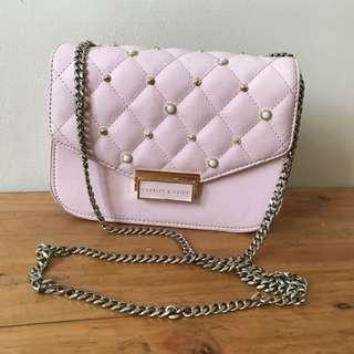 sling bag / tas selempang charles and keith pink ORIGINAL