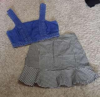 Jacq set    Cotton On Denim Crop Top bralette with zip up back o-ring detail and BNWT black and white gingham frilly hem mermaid flare mini skirt ulzzang korean