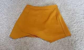 Korean ulzzang mustard skirt with safety shorts/skorts