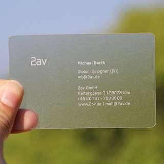 Transparent Translucent Frosted Plastic Namecard
