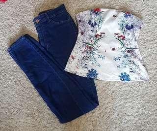 Kenzie set    Love bonito silk satin floral tube top and H&M Divided high waist dark wash denim skinny jeans