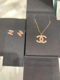 Chanel Pink Necklace Earrings 粉紅色 頸鏈 耳環
