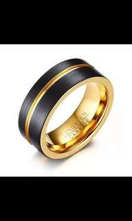 🚚 Tungsten Carbide Gold Black Ring