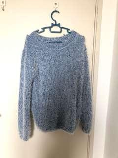 Oversized fluffy blue sweater for winter
