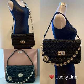 c1d99643bcf Miu Miu Large 5 Way Matelasse Crystal Black Handbag   Maxi Clutch Bag