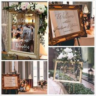 Gold Luxe Mirror for Weddings / Event Rental