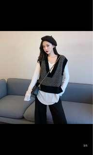 Knitted sweater sleeveless korean style