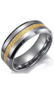 Tungsten Carbide Gold Line Silver Ring