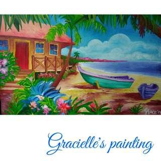 Canvas Painting: Boats and a House