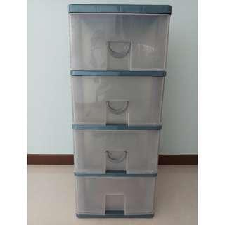 Plastic Cabinet (Dark Blue with transparent drawers) for sale