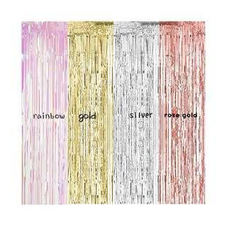 🚚 Tinsel party back drop                                                   1m(w)*2m(L)&1m(w)*3m(L).   Gold /silver/rose gold