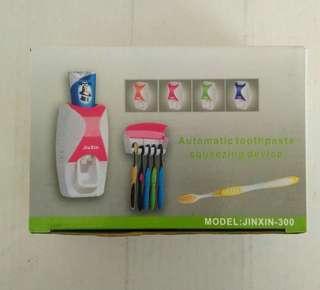 自動擠牙膏器+牙刷架組合