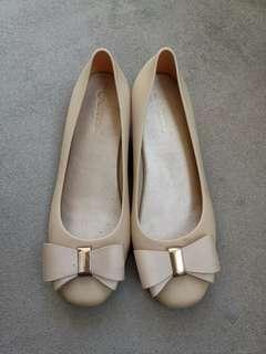 Cabanna Ribbon Wedge in Nude Pink