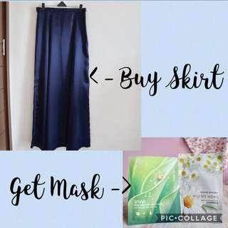 Buy 1 get 1 - Navy Long Skirt Zoya get Sheet Mask