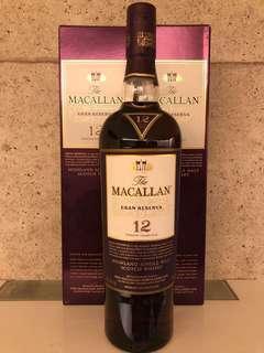 Macallan 12 Gran Reserva 紫鑽 Sherry Whisky.  45.6%abv