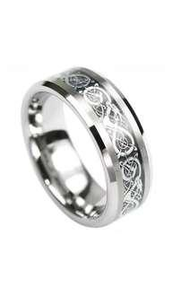 🚚 Tungsten Carbide Silver Celtic Dragon Ring