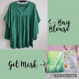 Buy 1 get 1 - Green Blouse Batwing get Sheet Mask Nature Republic