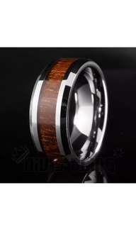 🚚 Tungsten Carbide Silver Wood Ring
