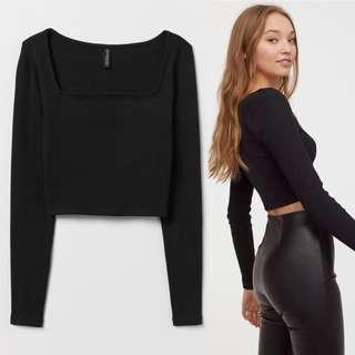 H&M Square Neck Ribbed Long Sleeve Short Jersey