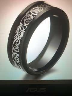 Tungsten Carbide Black / Silver Celtic Dragon Ring