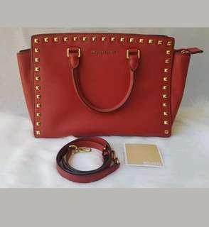 AUTHENTIC MICHAEL KORS MK selma red large studs satchel leather handbag tote bag