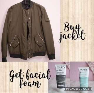 Buy 1 get 1 - Bomber Jacket Zara Army get Facial Foam