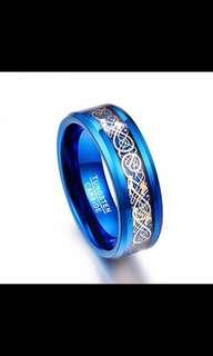🚚 Tungsten Carbide Blue Dragon Optic Ring