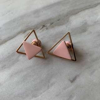 粉色三角耳環