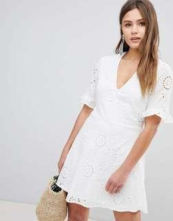 🚚 Parisian Tall Broderies Skater Dress With Frill Sleeve