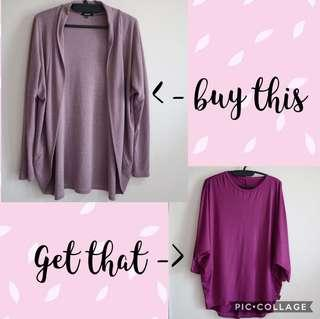 Buy 1 get 1 Free - Light Purple Cardigan get Purple Blouse