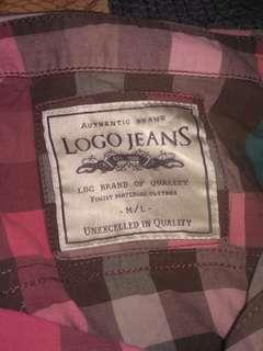 Kemeja kotak2 logo jeans