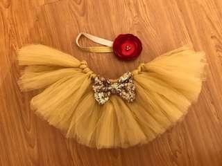Gold Tutu Skirt with Headband