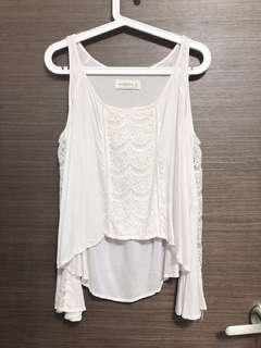 A&F Lace cutout shoulder top
