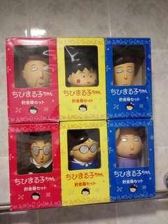 1995年 櫻桃小丸子 貯金箱 1套6隻