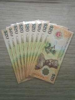 💱UNC FIRST PREFIX 40th ANNIVERSARY CIA BRUNEI $20 x 10 RUN NOTES 💱