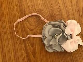 Pink&Gray Flower Headband