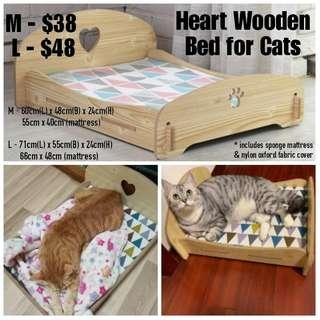 Heart Wooden Bed for Cats