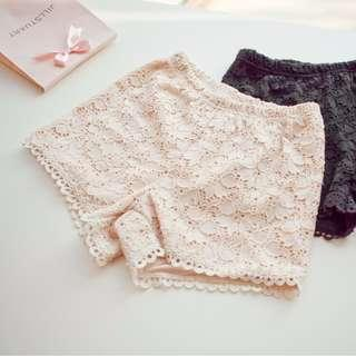 lace short pants 韓國 全蕾絲短褲 家居褲 睡褲 打底褲 泳褲 沙灘褲