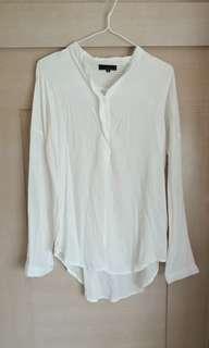 White Blouse Top silky texture 白色襯衫上衣柔軟