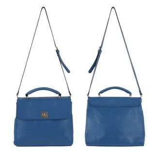 denim blue handbag 牛仔藍仿皮手袋