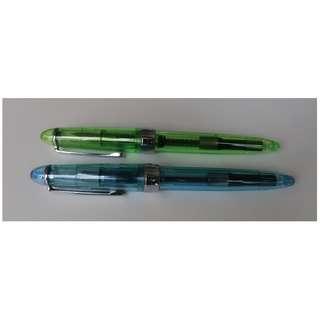 Jinhao 992 transparent fountain pens (green, blue, F nib)